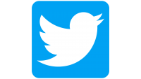 Twitter logo: white bird on a blue square