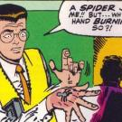 Peter Parker being bit by radioactive spider